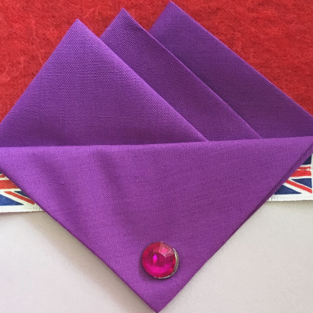 Purple (Bright Purple) Three Point Pocket Hankie & Pin